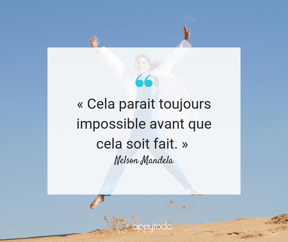 Citation motivante - Nelson Mandela - impossible