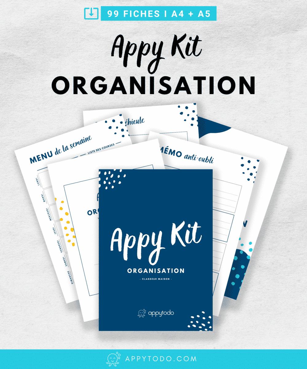 L'appy kit organisation : 99 fiches PDF à imprimer pour faire son classeur maison