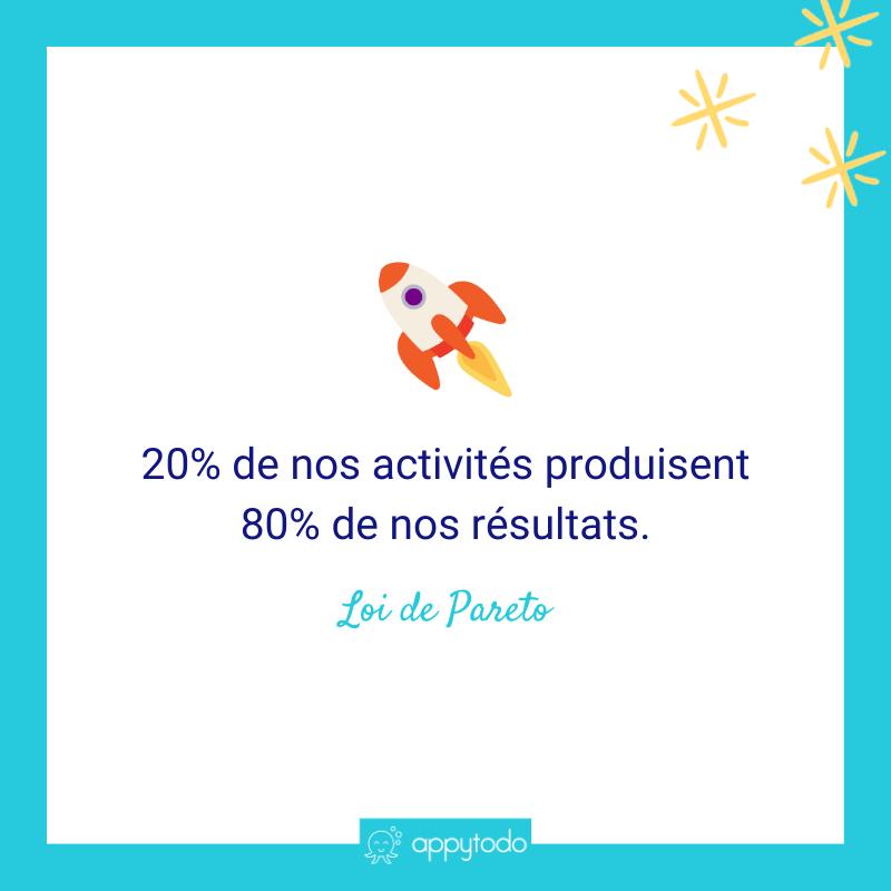 Loi de Pareto - 20% de nos activités produisent 80% de nos résultats