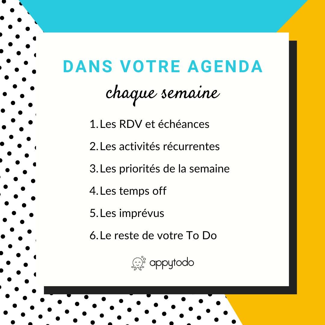 Dans votre agenda chaque semaine : 6 éléments à planifier