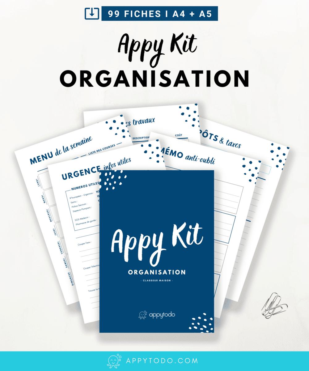 L'appy kit organisation : 99 fiches PDF à imprimer pour faire son classeur maison ou organisateur familial. Simplifier votre quotidien et améliorer votre organisation personnelle. Printables en français format A4 A5 via @catherineappytodo