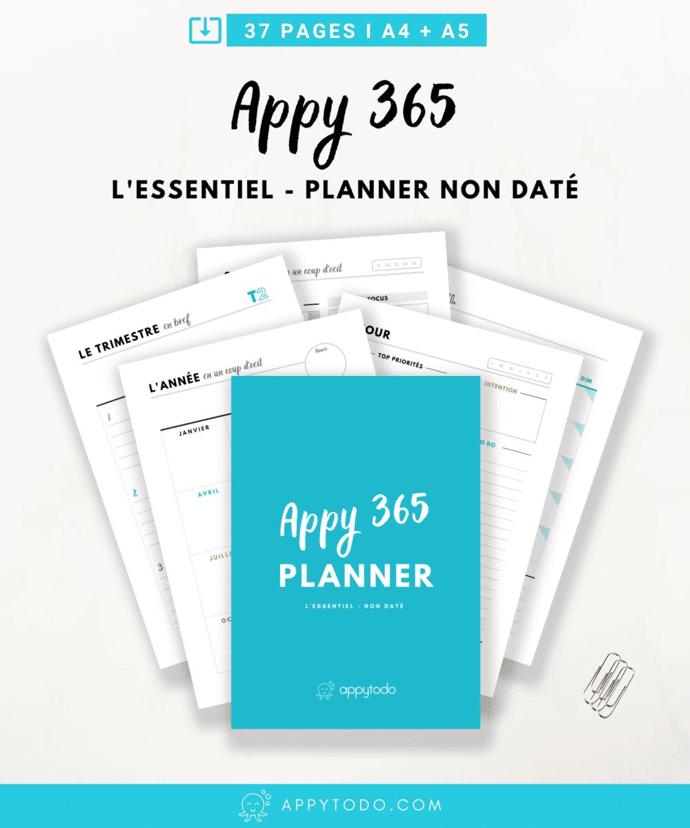 Créer votre propre planner et personnaliser le grâce à l'Appy 365. Un kit de fiches pour planner, agenda et filofax à  imprimer . L'essentiel pour gérer votre temps et vous organiser avec des pages annuelles, mensuelles, pour la semaine, ou encore suivre votre journée. Printables en français. Format PDF A4 et A5 #planner via @catherineappytodo