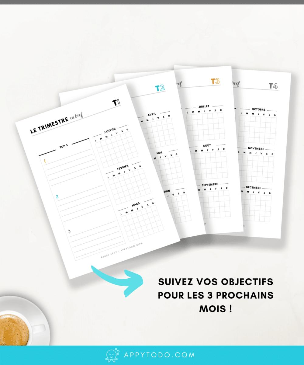 Pages à  imprimer pour planner : gardez sous les yeux vos objectifs du trimestre pour mieux gérer votre temps et vous organiser. A imprimer ou afficher, ces fiches PDF en français et imprimables font partie du Kit Appy 365, l'essentiel pour planner. Planifier votre année, trimestre et semaine via @catherineappytodo