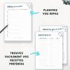 Fiches recettes, planification des repas et menus pour classeur maison à imprimer