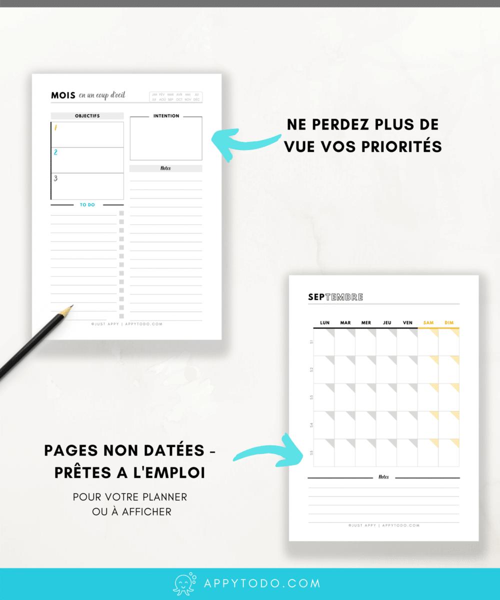 Organisation du Mois : Pages mensuelles à imprimer - Appy 365 planner