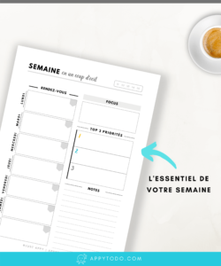 Organisation hebdomadaire : Pages semaine à imprimer pour planner - Appy 365 Planner