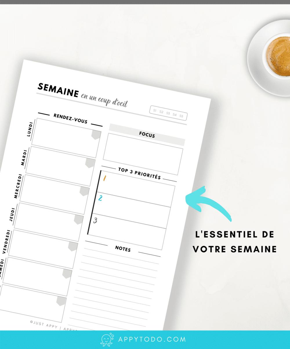 Prenez du temps chaque semaine pour vous organiser grâce aux pages hebdomadaires à  imprimer. En un coup d'oeil, visualisez votre semaine, vos RDV et priorités. Ceci fait partie du Kit Appy 365, Planificateur non daté qui contient l'essentiel pour planner. via @catherineappytodo