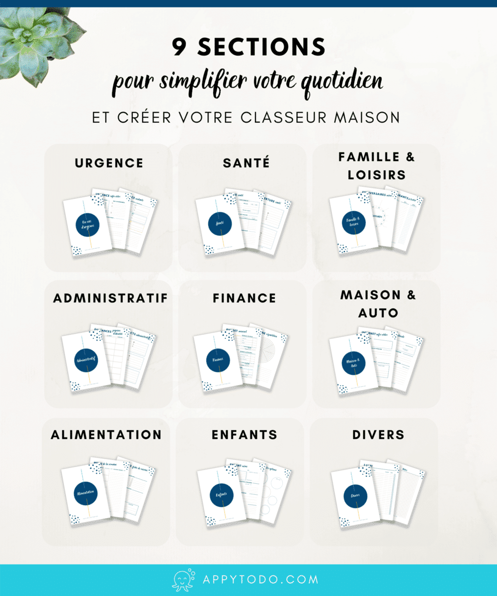 9 sections de l'Appy Kit Organisation pour créer votre classeur maison