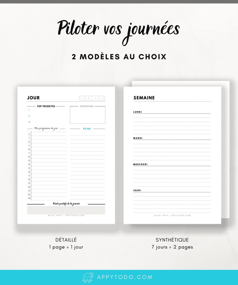 Organisation de la journée : Page Jour à imprimer - Appy 365 Planner