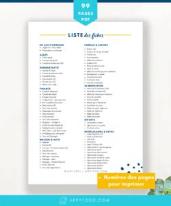 Liste des fiches pour créer votre classeur maison inclus dans l'appy kit organisation