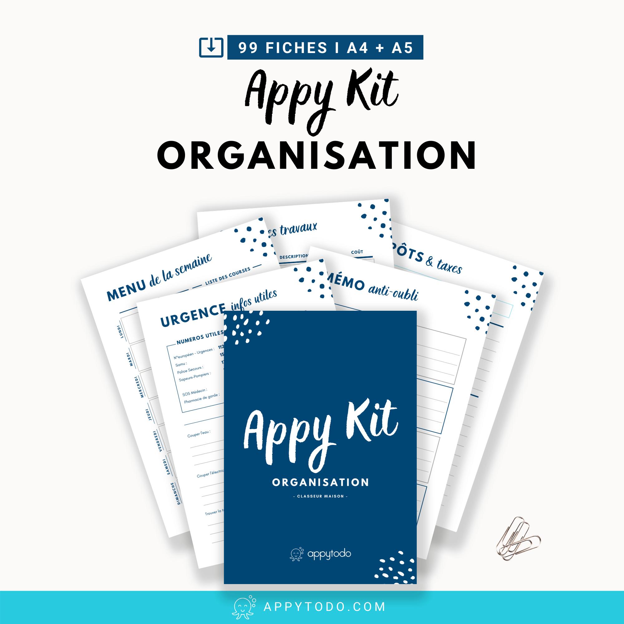 Appy Kit Organisation : fiches imprimables pour Classeur Maison