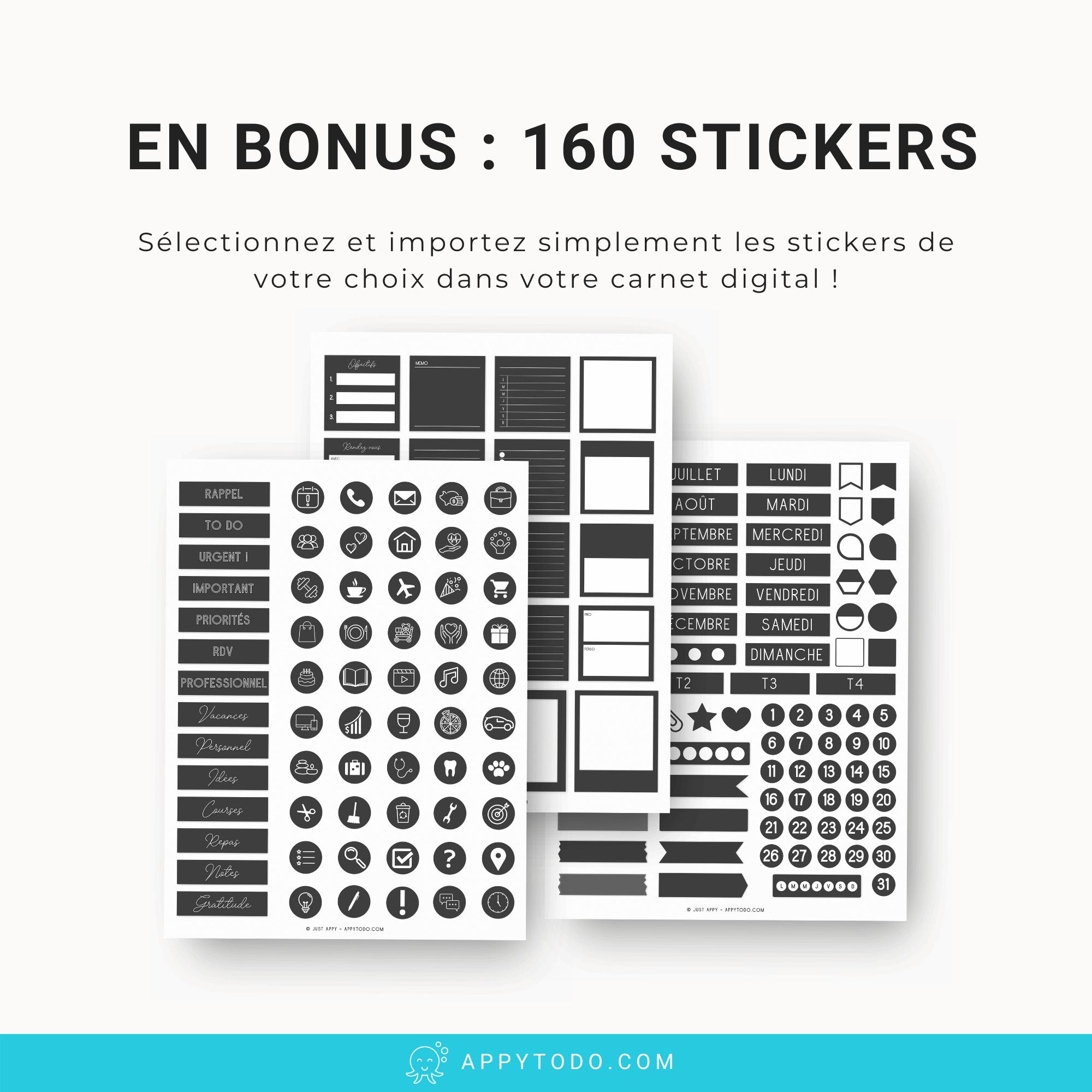 Des stickers numériques avec votre carnet digital