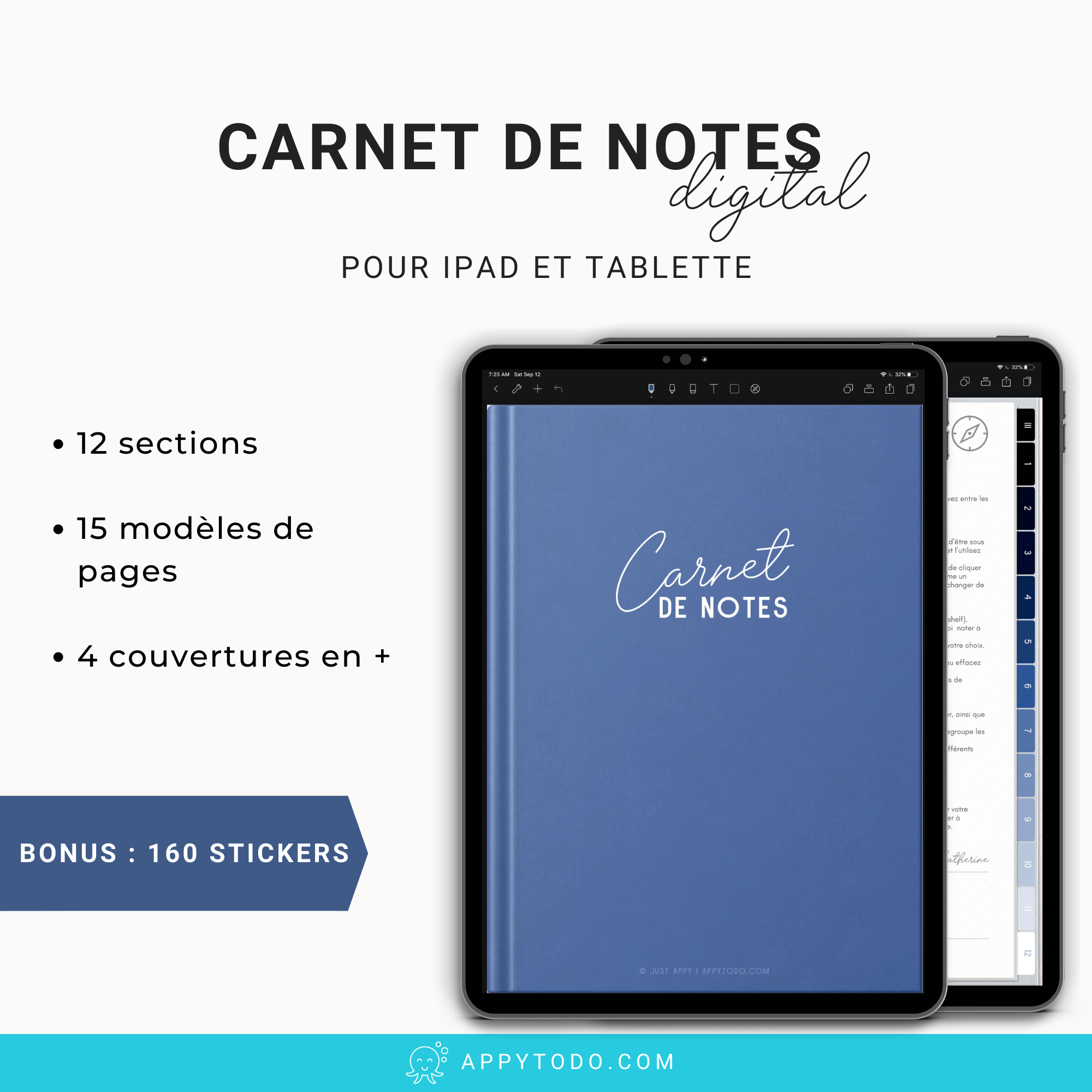 Carnet de notes digital 12 sections Bleu pour Ipad et Tablette