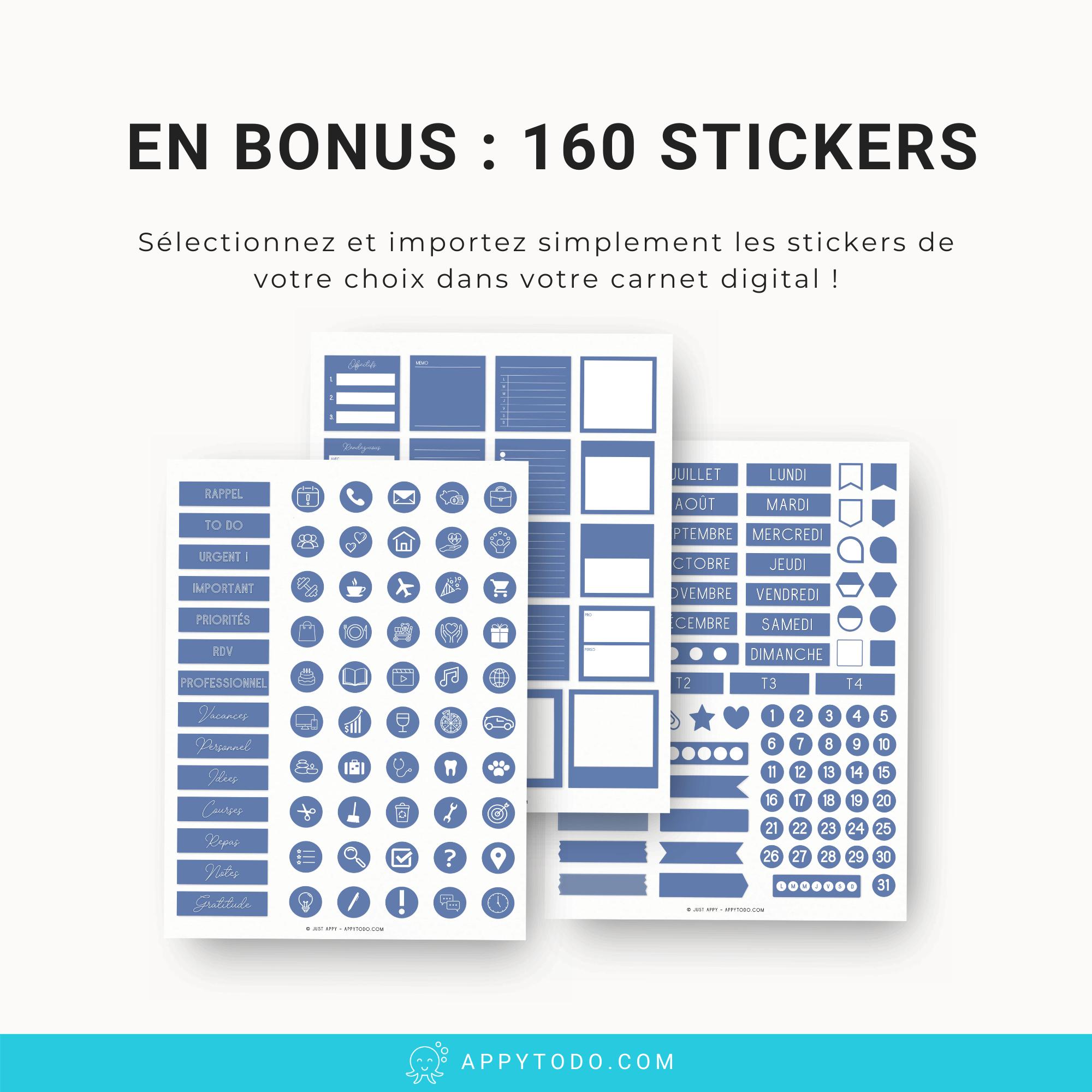 160 stickers numériques bleu inclus dans le pack carnet digital