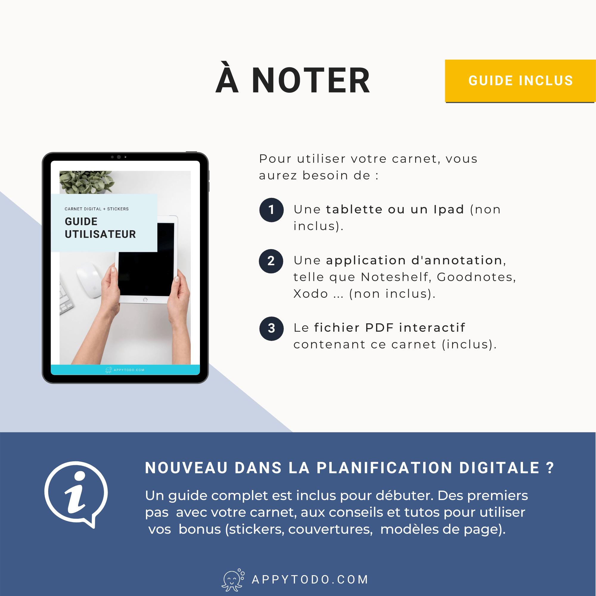 Guide utilisateur carnet digital + stickers