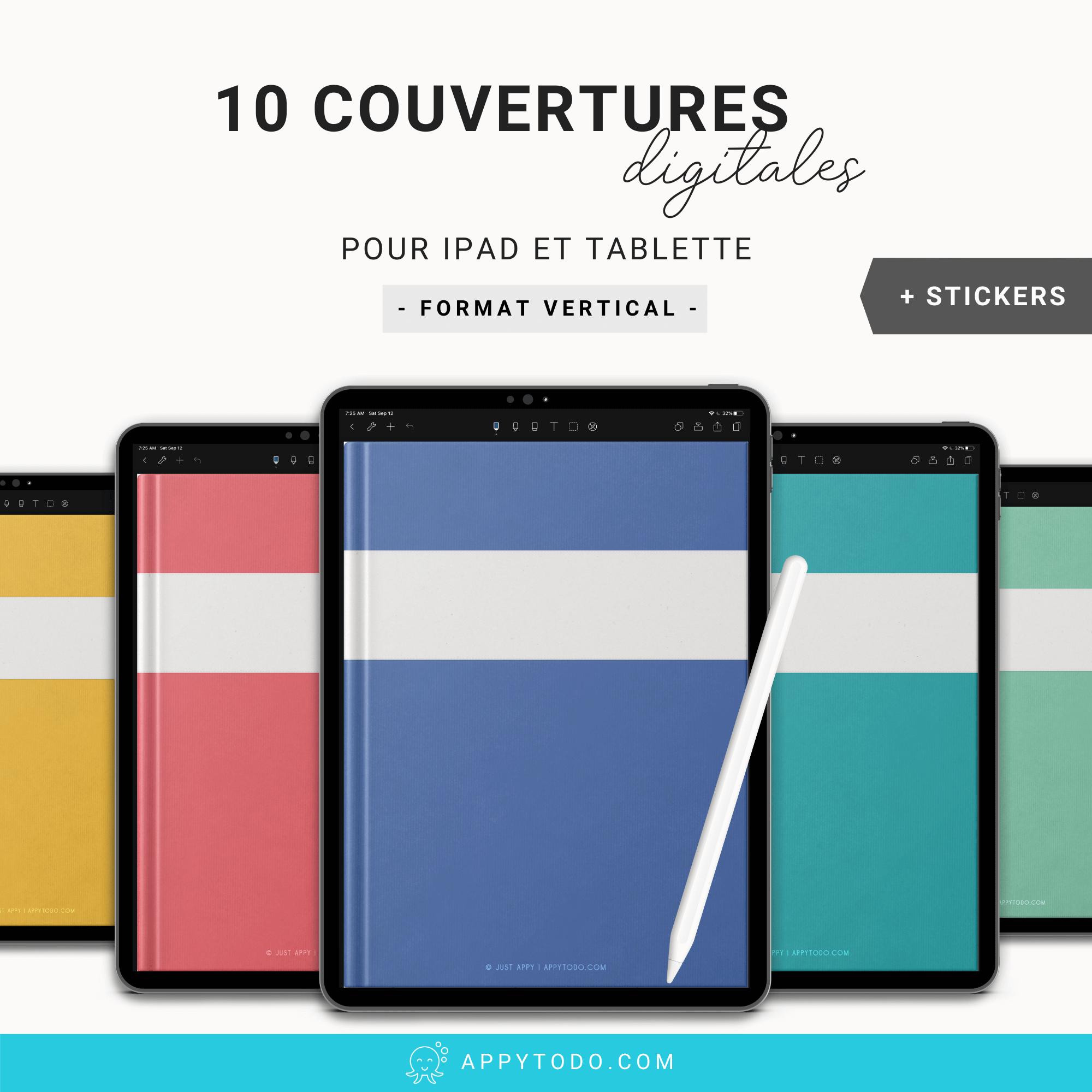 Couvertures numériques pour carnet et planner digital sur Ipad et tablette