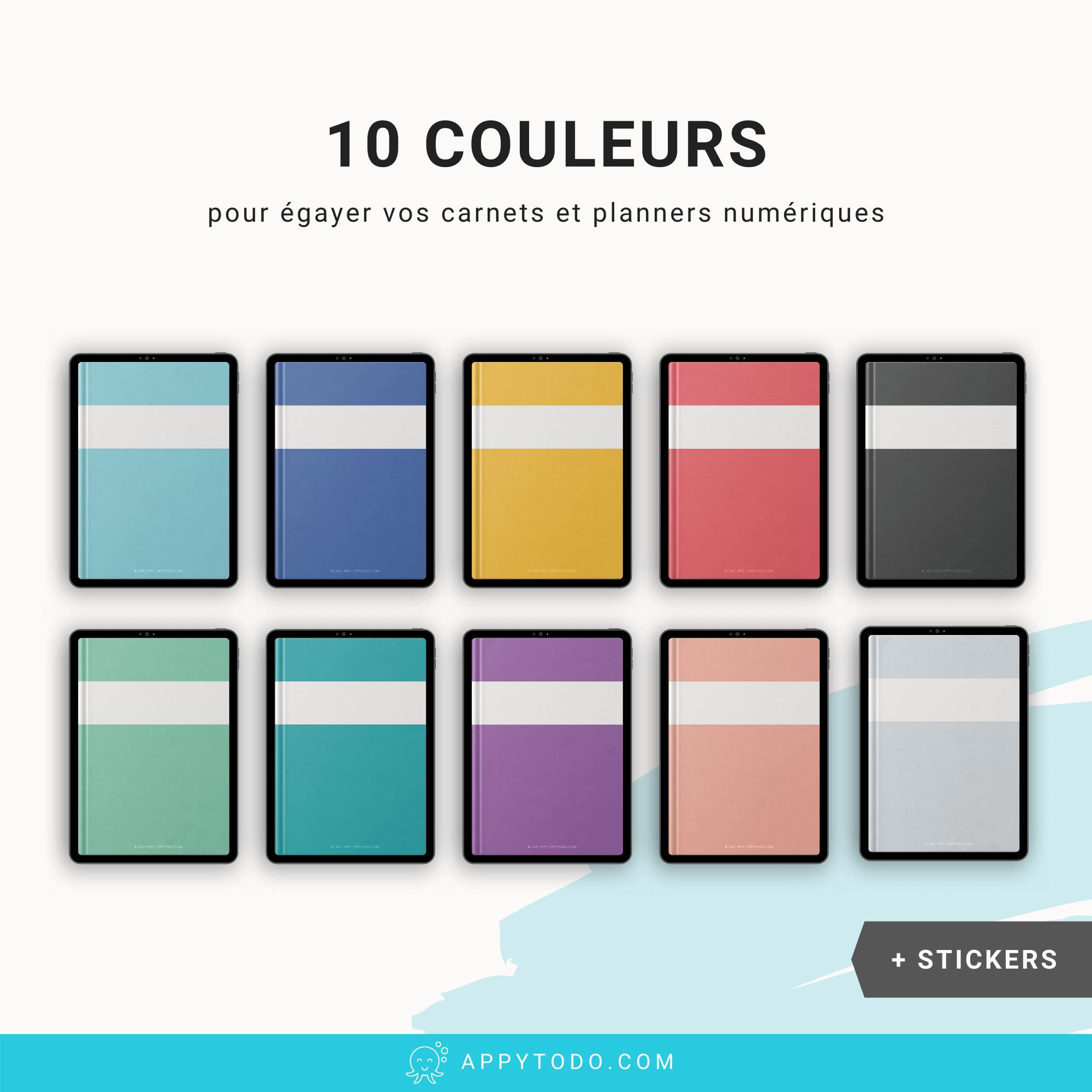 10 couvertures colorées pour planner sur Ipad et tablette
