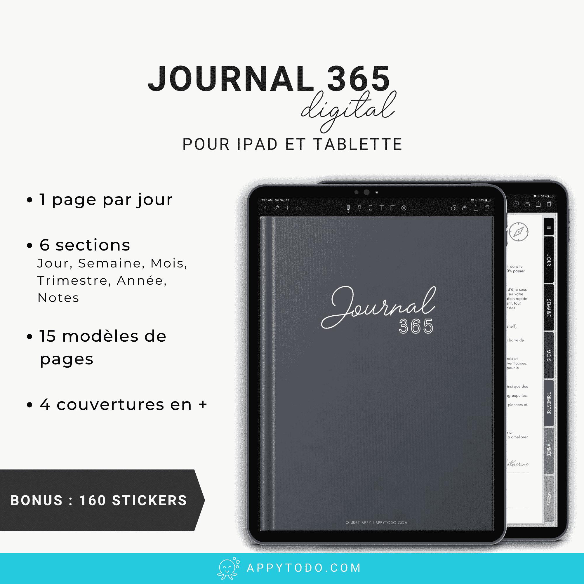 Journal digital 365 Noir pour iPad et tablette