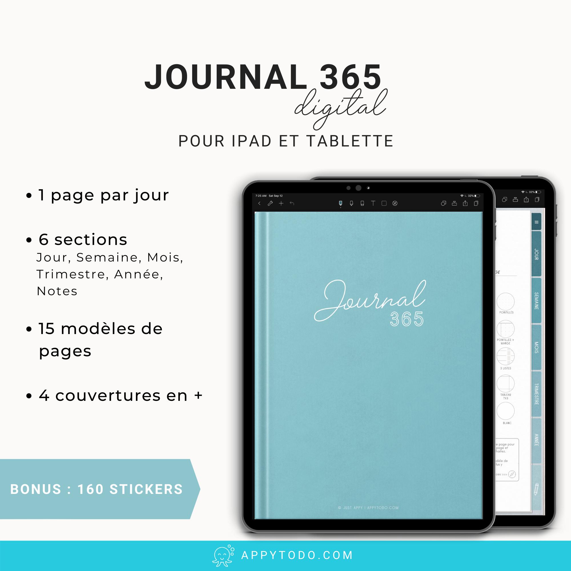Journal digital 365 turquoise pour ipad et tablette