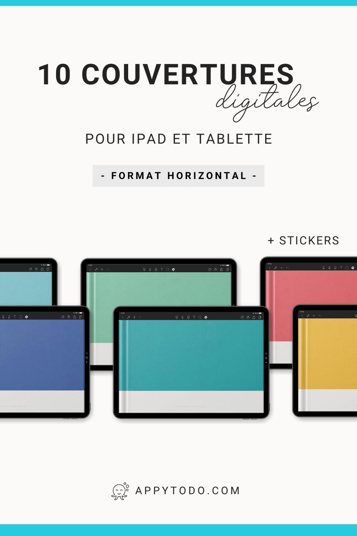 Personnalisez vos carnets, planners, livres digitaux avec ces couvertures numériques horizontales. 10 couleurs au choix pour embellir votre bibliothèque numérique et vous repérer plus facilement. Inclus un guide utilisateur et 1 planche de stickers pour ajouter des titres. Compatible Noteshelf, Goodnotes, Xodo, Notability sur Ipad et Tablette. Retrouvez tous les outils et accessoires de planification digitale en français dans la boutique appytodo.   #accessoire #plannerdigital #francais via @catherineappytodo