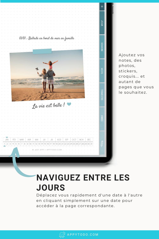 Découvrez le format journal digital. Un journal interactif, 100% nomade et zéro papier sur iPad et Tablette. En un clic rendez vous à la date souhaitée. Réutilisable à l'infini, vous pouvez l'utilisez à l'infini pour vos différents projets (carnet de gratitude, journal intime, journal de bord...  Pack comprenant des modèles de pages, stickers et couvertures en plus. Compatible avec Noteshelf, Goodnotes, Notability, Xodo... #journal #numérique #francais via @catherineappytodo
