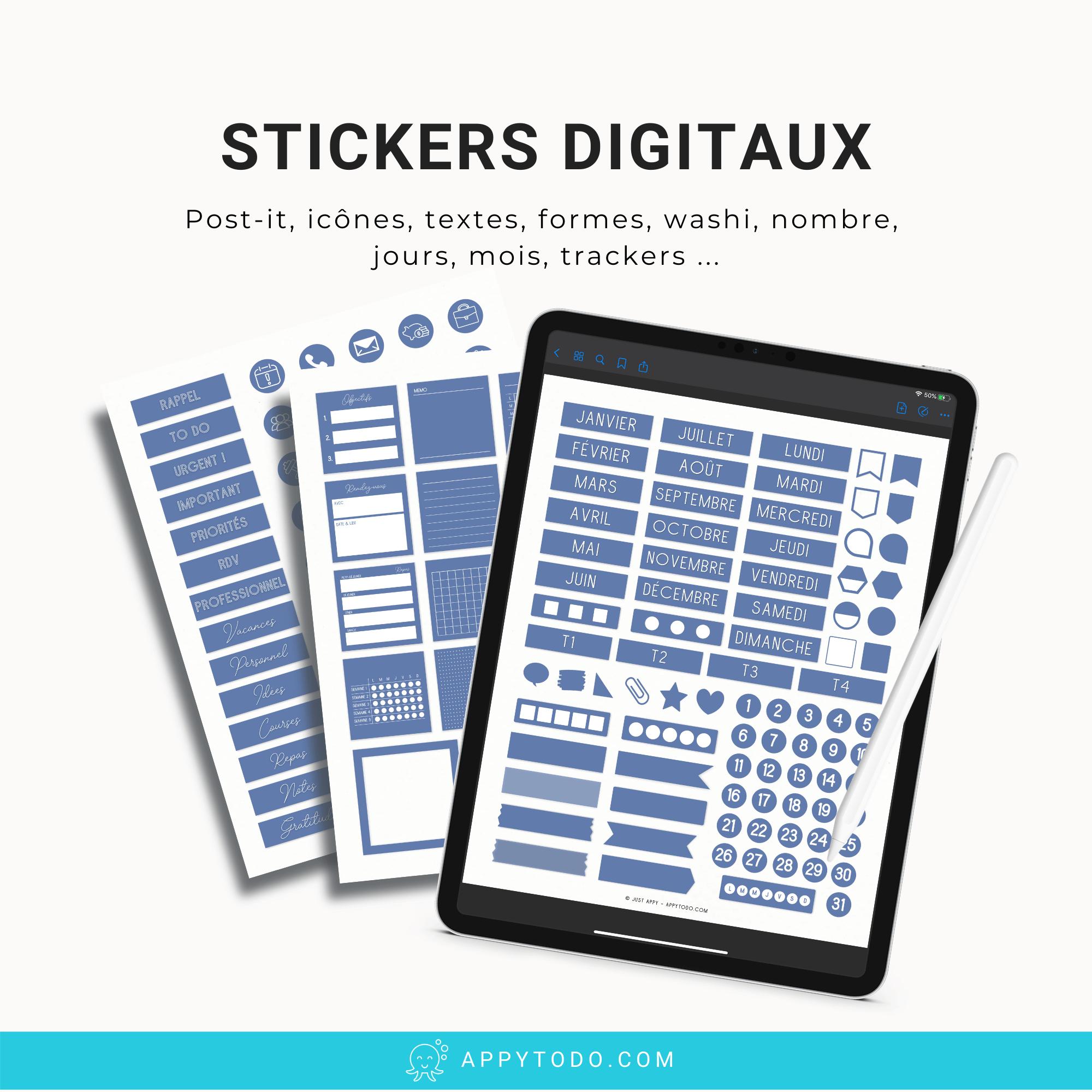 Stickers pour carnets et planner digital sur Ipad et tablette