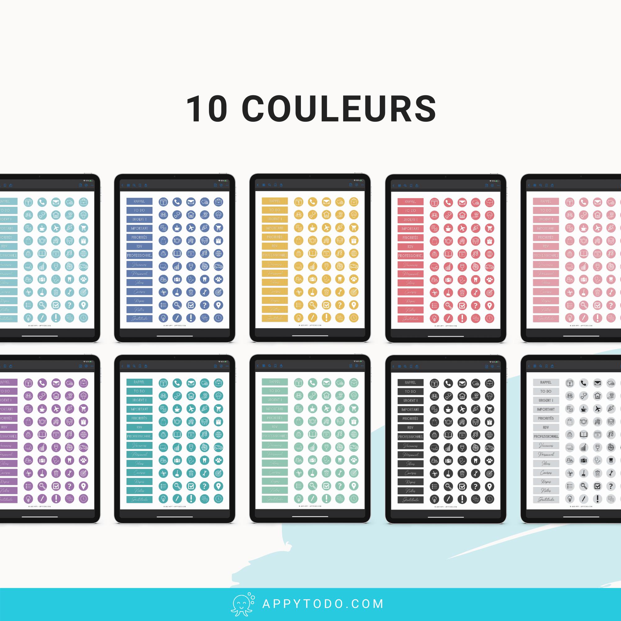 Autocollants numériques déclinés en 10 couleurs