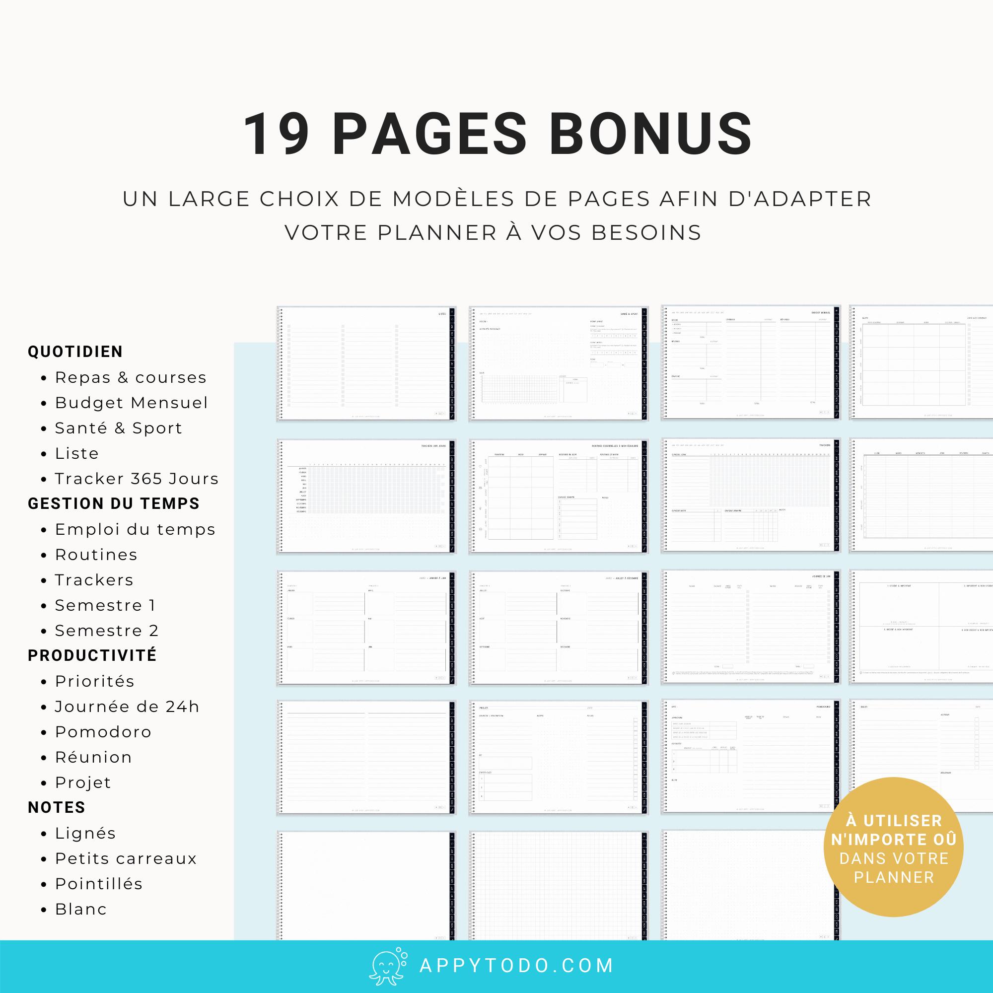 Modèles de pages pour planner digital 2021