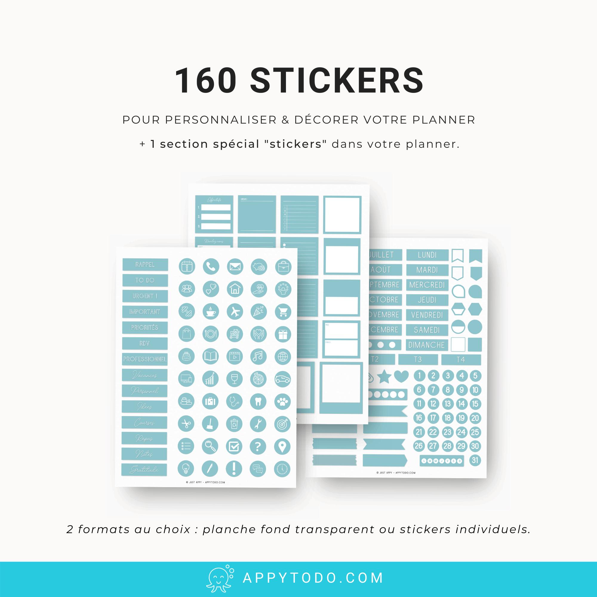 Pack planner digital avec 160 stickers en bonus