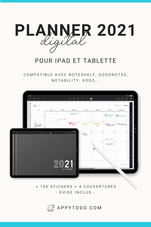 Pack Planner digital 2021 en français. Compatible Noteshelf, GoodNotes, Notability, Xodo… Inclus : 160 stickers numériques, 4 couvertures bonus, 19 modèles de pages, 1 planner interactif et 1 guide utilisateur en français. #planner #digital #2021 via @catherineappytodo