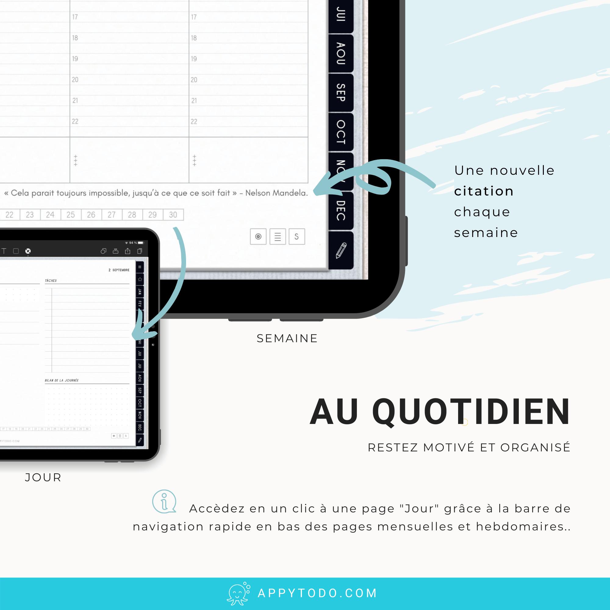 Planner digital en français avec citations