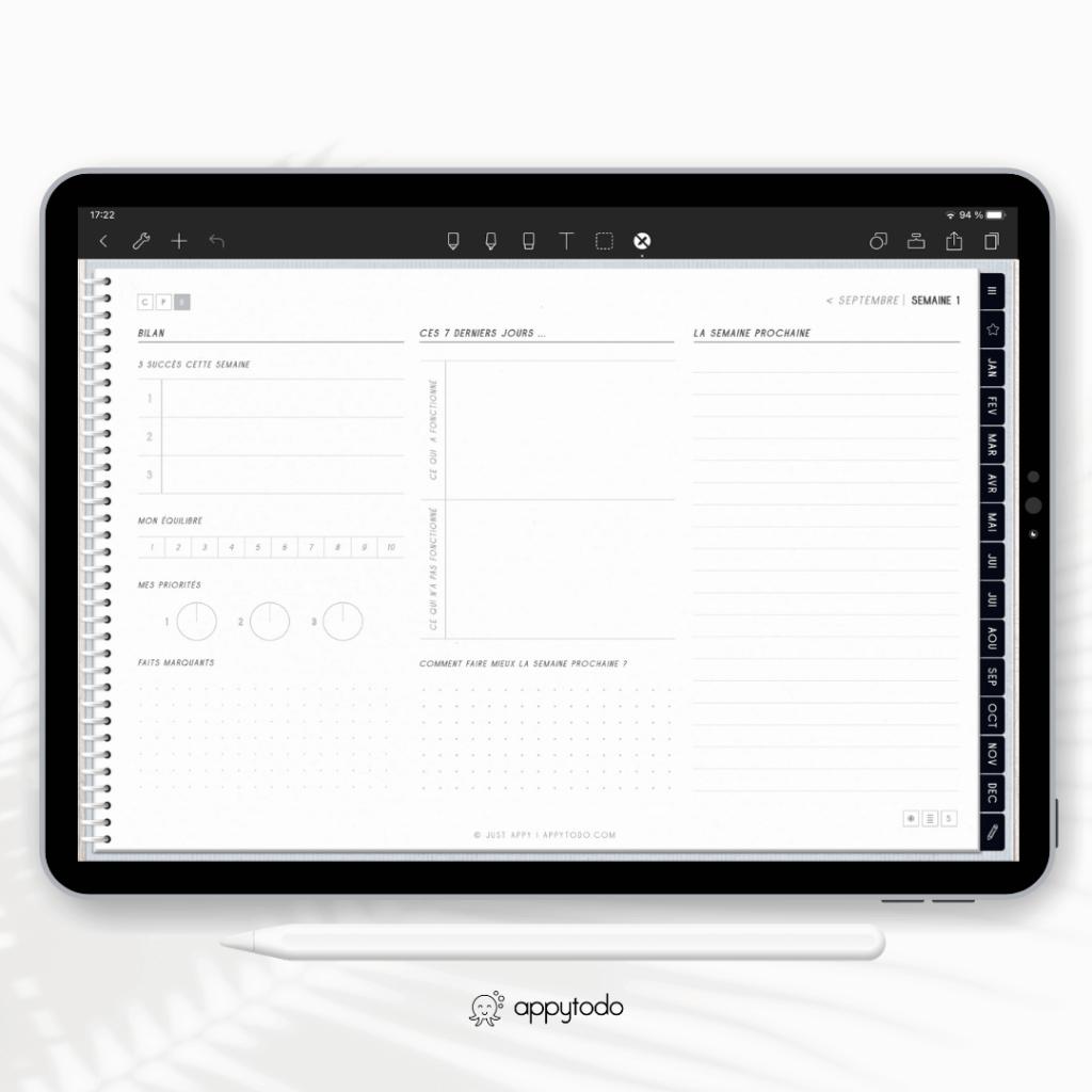 Bilan de la semaine : modèle de pages dans le planner digital