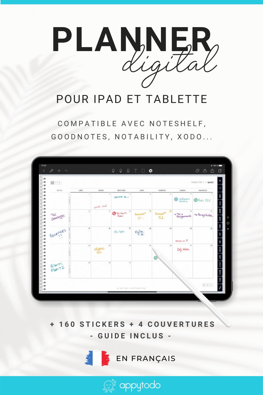 Le planner de appytodo est un planner digital en français. Plus qu'un simple planner, c'est un outil pour vous aider à atteindre vos objectifs, tout en maintenant votre équilibre. En plus, il est zéro papier. Vous faites ainsi un geste pour la planète avec une solution 100% digitale et interactive ! Compatible Noteshelf, Goodnotes, Xodo, Notability, un guide utilisateur, des stickers, modeles de pages et bonus sont inclus. À découvrir #planner #français #zeropapier via @catherineappytodo