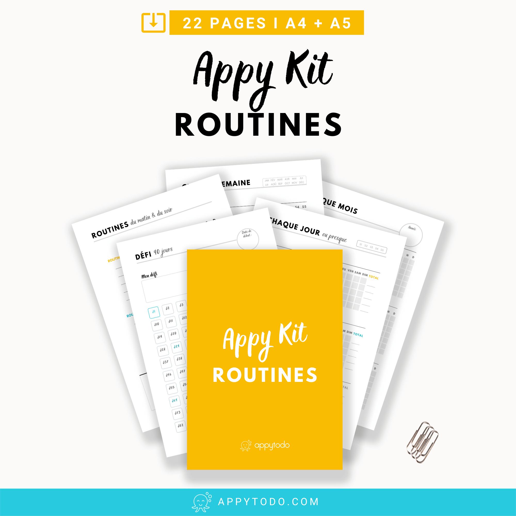 Appy Kit Routines : pages trackers et de suivi