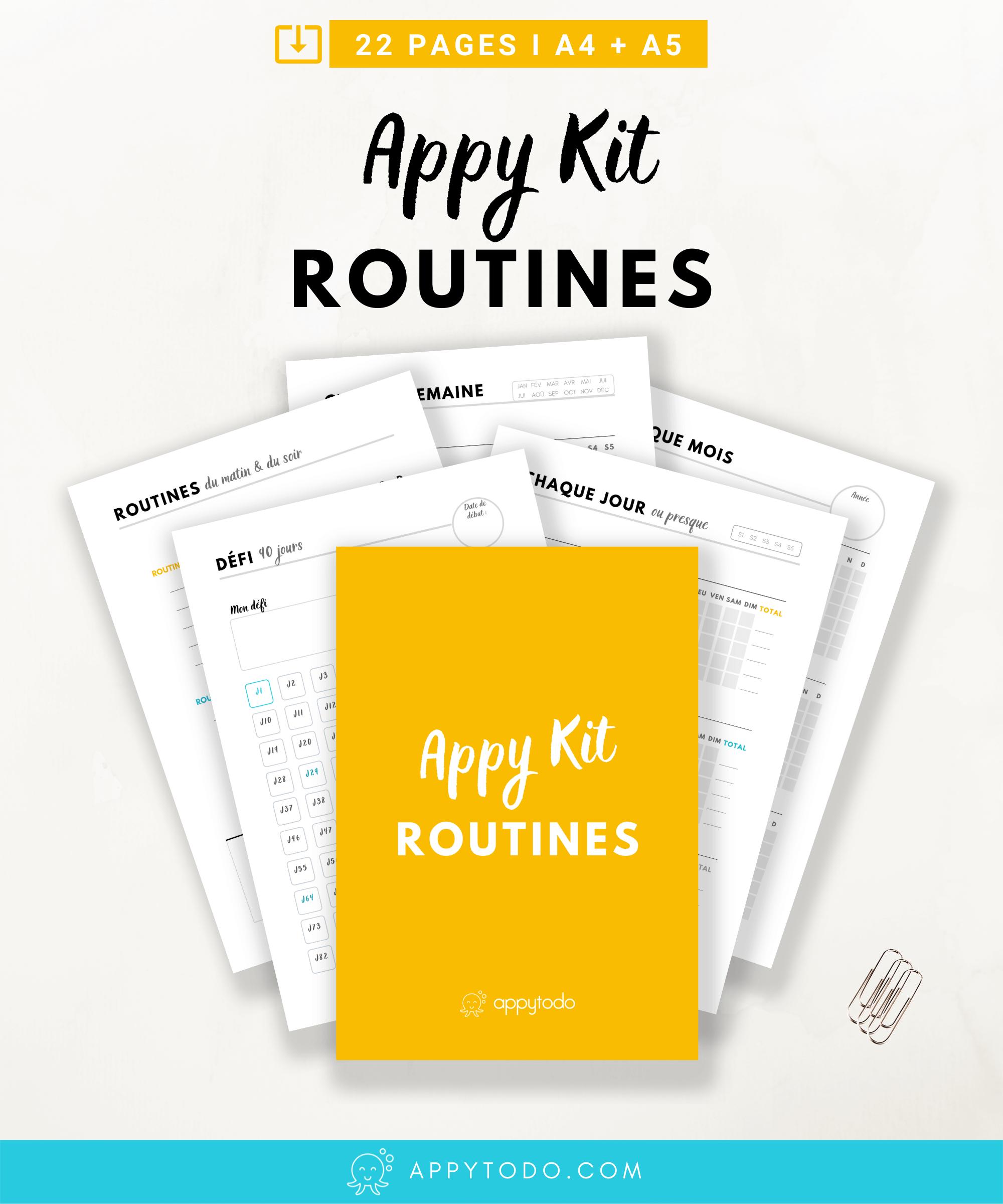 Développez de nouvelles habitudes et suivez vos routines avec l'Appy Kit Routines. 22 fiches et trackers en français - format A4 et A5, à télécharger et imprimer. Inclus : suivi d'habitudes annuel, trimestriel, mensuel, hebdomadaire, journalier, suivi des routines du matin et du soir, citations pour se motiver, et bien plus. Ces printables en français sont à découvrir dans la boutique de appytodo. #printable #tracker #routines via @catherineappytodo