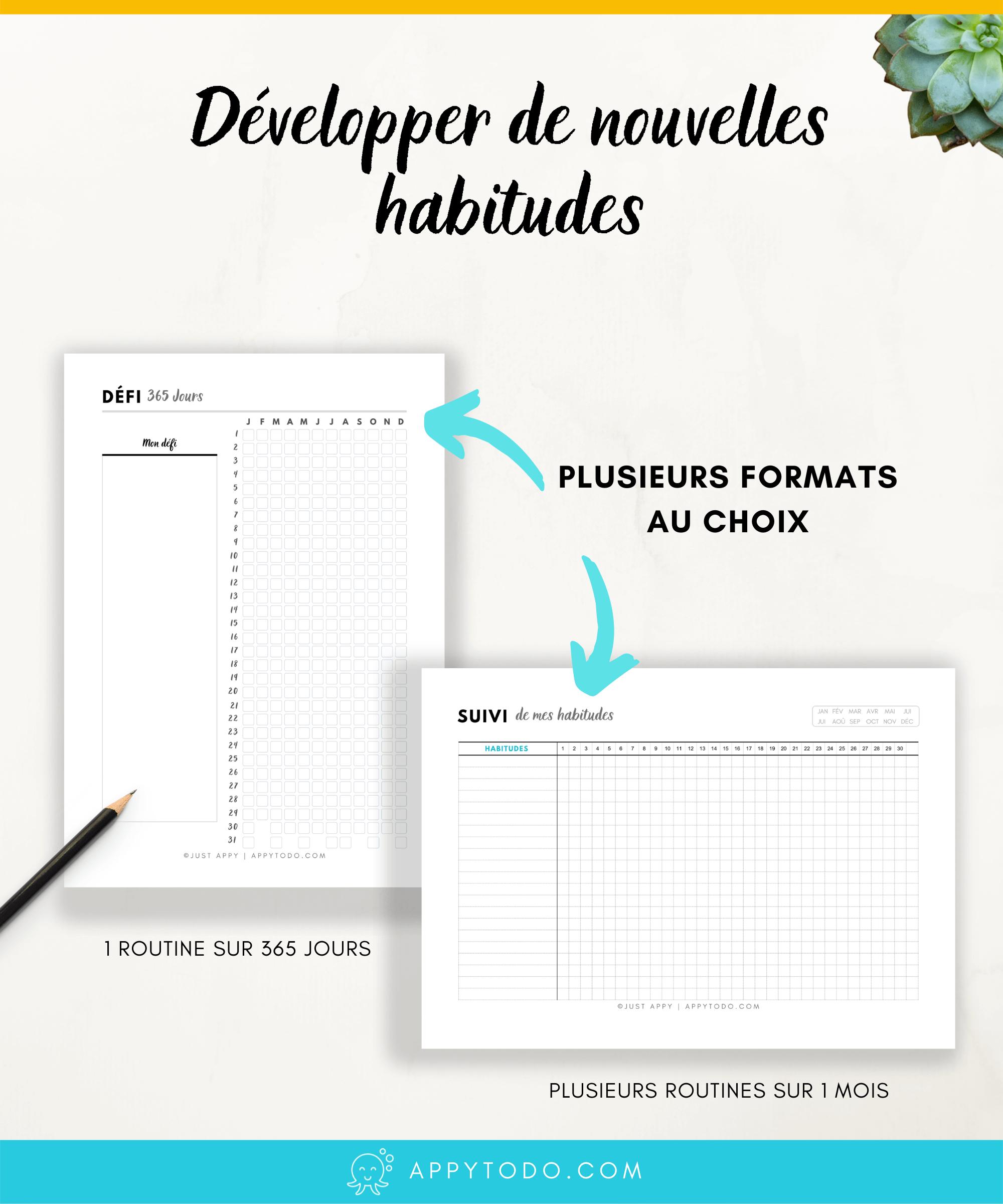 Découvrez l'Appy Kit Routines. 22 fiches et trackers en français pour suivre vos routines et développer de nouvelles habitudes. Format A4 et A5, fiches à télécharger et imprimer. Inclus : suivi d'habitudes annuel, trimestriel, mensuel, hebdomadaire, journalier, suivi des routines du matin et du soir, citations pour se motiver, et bien plus. Ces printables sont à découvrir dans la boutique de appytodo. #printables #tracker #routines via @catherineappytodo