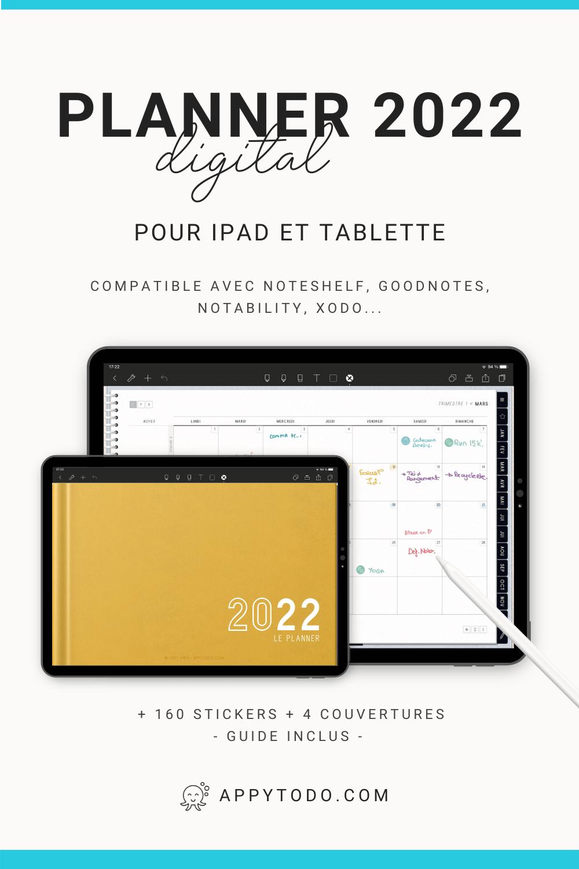Découvrez ce Pack Planner digital 2022 en français pour tablette et iPad. Inclus : 1 planner digital 2022 (635 pages), 160 stickers numériques, 4 couvertures bonus, 1 guide utilisateur. Ce planner a été conçu pour être utilisé avec un iPad ou une tablette, un stylet et une application d'annotation, telle que Noteshelf, GoodNotes, Notability, Xodo. #planner #numerique #français via @catherineappytodo