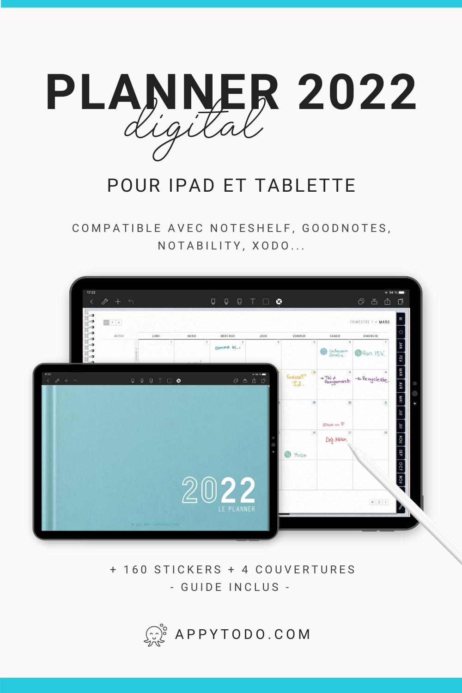 Découvrez le planner digital 2022 en français de appytodo. Une solution zéro papier, interactif à utiliser sur iPad et tablette avec une application comme Goodnotes, Noteshelf, ou Notability. Plus d'un planner, c'est un outil pour vous aider à atteindre vos objectifs et maintenir votre équilibre. Inclus pack avec un guide pour débuter, 160 stickers et des couvertures en plus #plannerdigital #2022 #francais via @catherineappytodo