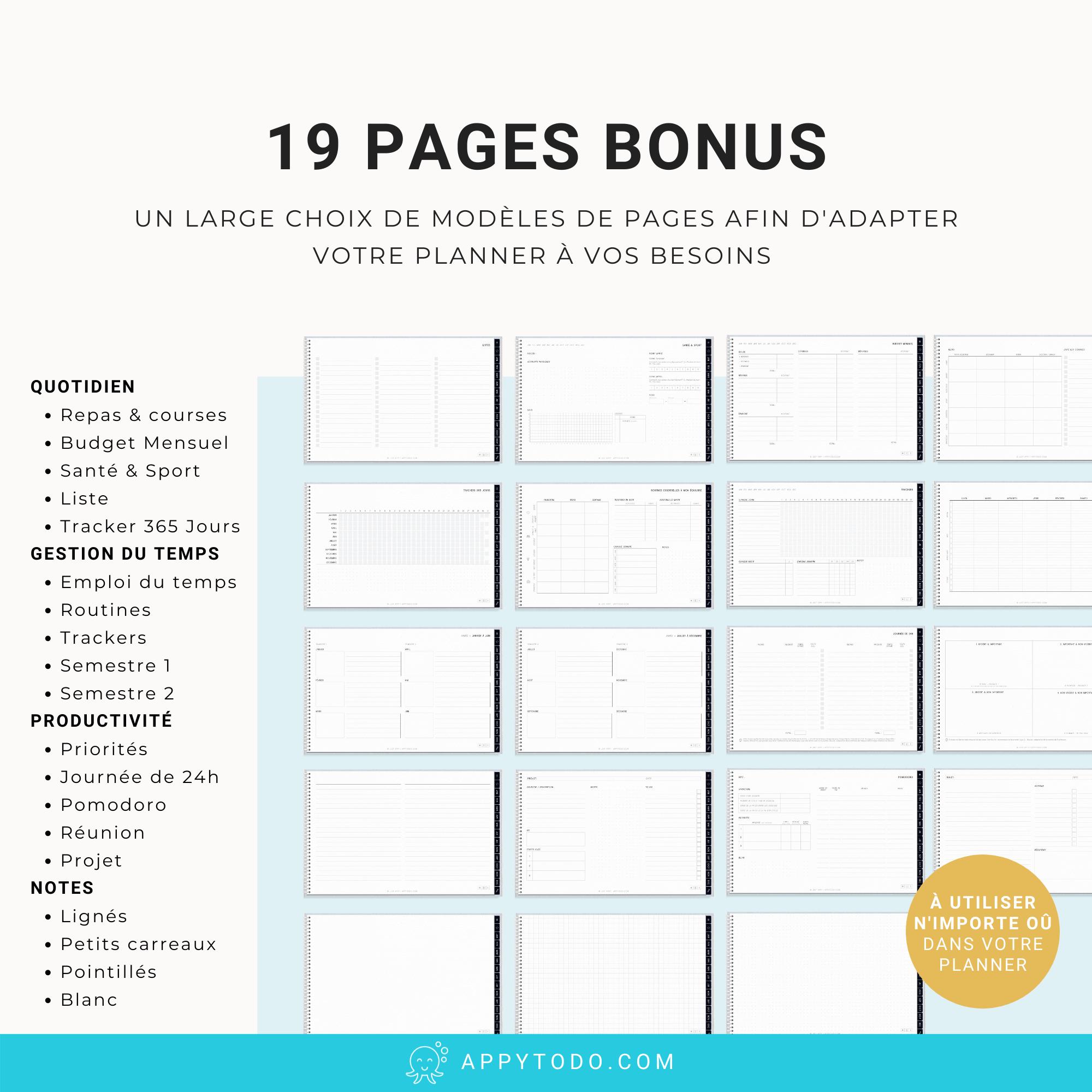 Modèles de pages pour planner digital