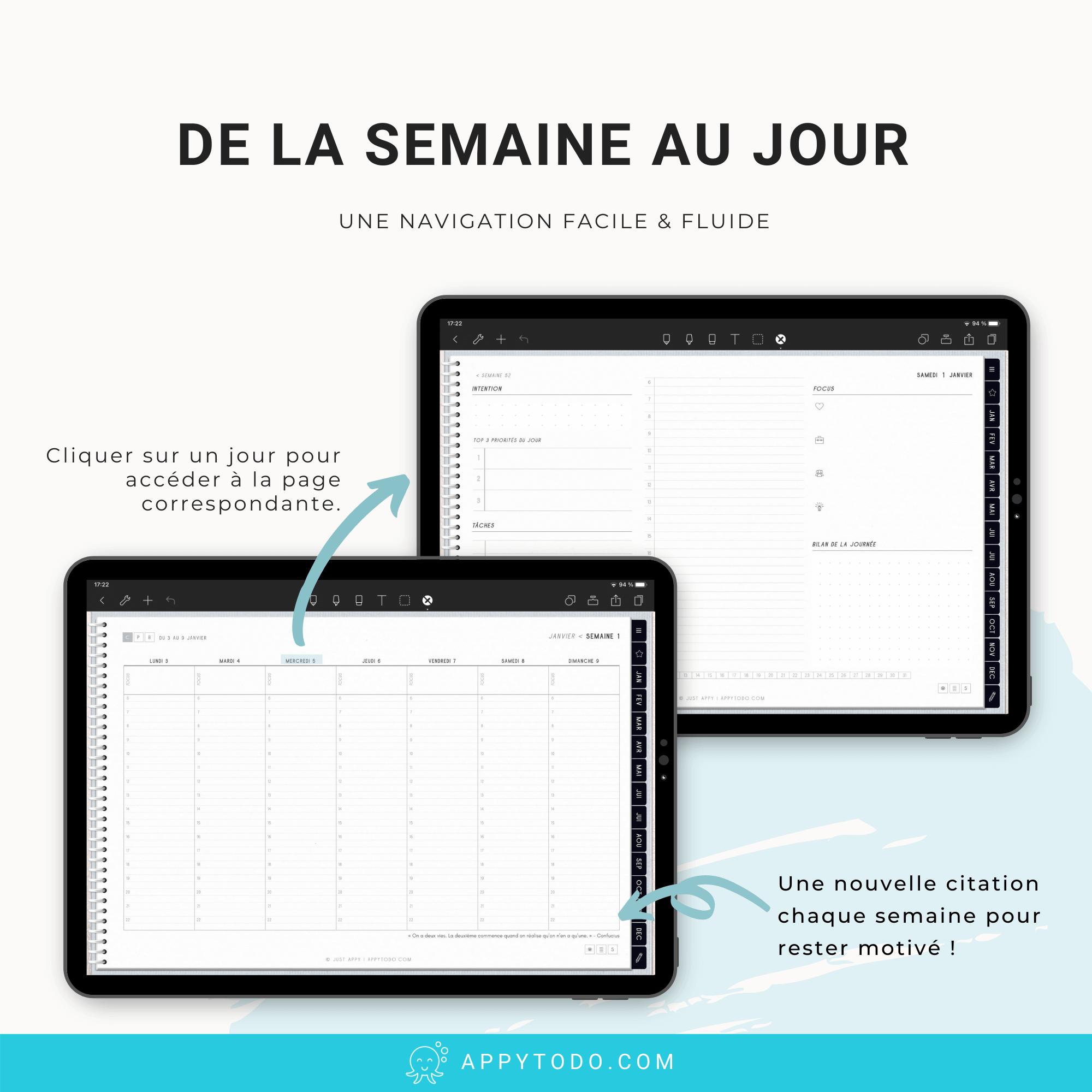 Planner numérique 2022 en français